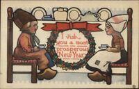 Bernhardt Wall Dutch Children Have Tea - New Year c1910 Postcard