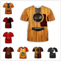 Guitar art Musical instrument 3D Print Men Women Fashion Short Sleeve T shirt