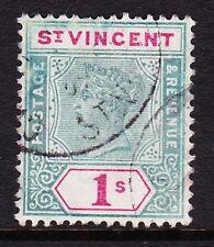 ST VINCENT 1899 1/- GREEN & CARMINE SG 74 FINE USED.