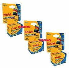 Kodak UltraMax 400 35mm 36 Film for Color Print Exp 2022 3Rolls