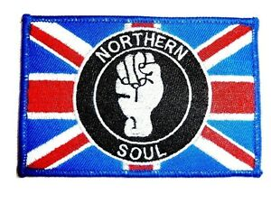 LARGE NORTHERN SOUL PATCH iron on collectors 1960's Mod music union jack badge