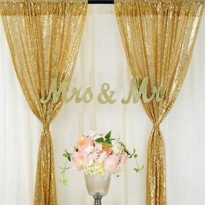 1/2Pcs 2x8ft Sequin Wedding Backdrop Curtain Background Party Event Photo Booth