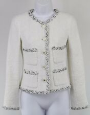 Chanel White Boucle Long Sleeve Button Down Single Breasted Blazer Size 36/2