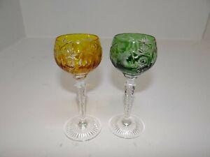 2 Likörgläser Kristallglas Überfangglas Schleuderstern Weinrebe Römer P-468