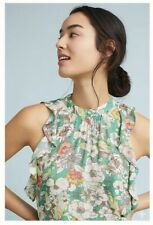 NWT Maeve Floral Ruffle Flutter Sleeve Top Sz Large Petite