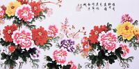 STUNNING ORIGINAL ASIAN ART CHINESE FLORAL WATERCOLOR PAINTING-Peony flowers