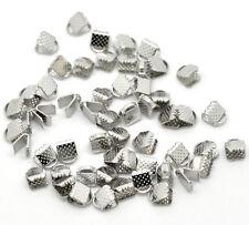 200 Pop Silver Tone Textured End Caps Crimp Beads 6x8mm