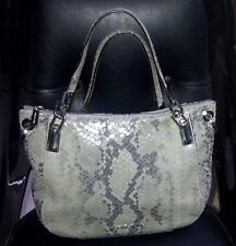 AUTH MICHAEL KORS BROOKE SNAKESKIN PYTHON EMBOSSED LEATHER SATCHEL HANDBAG PURSE