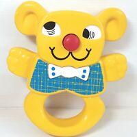 Matchbox Baby rattle toy Bear figure Yellow Vintage 1980s
