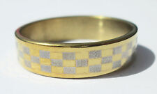 Gold Checkered Stainless Steel Ring - Size 10.5  (20.2mm)