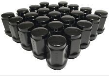 24 Black Bulge Acorn 14x1.5 Lug Nuts Chevy GM GMC Ford Truck