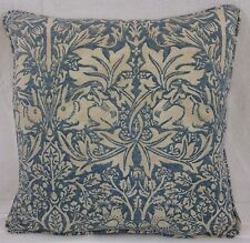 "Pair Of William Morris Brer Rabbit Slate Vellum 16"" x 16"" Cushion Covers piped"