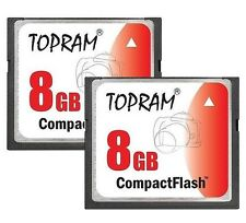 Lot 2 x TOPRAM 8GB CF 8G CF Compact Flash 120X memory card high Speed w/case