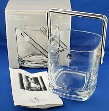 Strauss Light & Music Luigi Bormioli Blown Crystal Glass Ice Bucket & Box Vtg
