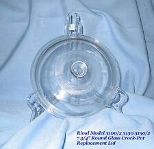 """Vintage Rival 7 3/4"""" Glass Crock Pot Replacement Lid - 3100/2 3130 3150/2 - EUC"""