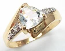 10KT YELLOW GOLD TRILLION CUT AQUAMARINE & DIAMOND RING SIZE 7   R1144