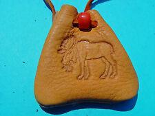 Moose Branded Gold Leather Medicine Buckskin Necklace Medicine Bag 1041
