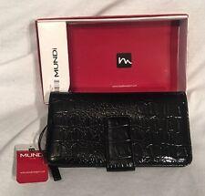 MUNDI Black Croc shiny Clutch wallet 2 tab closure card organizer