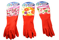 3 pair Decorative Latex Dish washing Gloves with PVC Cuff Assorted Free Shipping