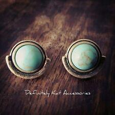 Stunning gold & aqua green turquoise round stud earrings