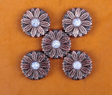 10PCs 30*30MM Flower Concho with White Turquoise Center Antique Copper Screwback