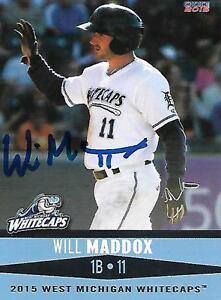 Will Maddox 2015 West Michigan Whitecaps Signed Card
