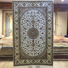 YILONG 3'x5' White Handmade Carpets Classic Home Hand Knotted Silk Area Rug 023C