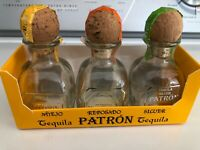 Lot of 3 Patron Minis 50ml w/Toppers Empty Bottles Tequila Silver Anejo Reposado
