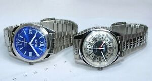 Blue Silver/Grey Dial oRiS/' Shock Proof 17J Lot 2 Wrist Watches Men's Hand Wind