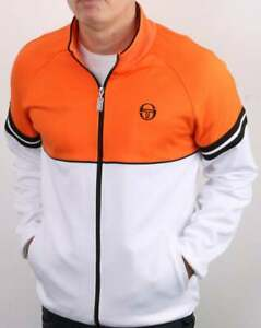 Sergio Tacchini Orion Track Top in White & Orange - retro tracksuit jacket SALE