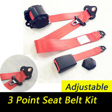 Universal Auto Car 3 Point Safety Seat Lap Belt Kit Retractable Polyester Red