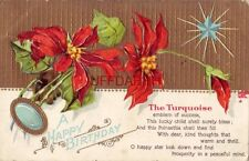 A Happy Birthday, The Turquoise, Emblem of Success and Poinsettia embossed