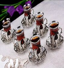 (SET OF 6)  Turkish Tea Glasses Set 6 Tea Serving Cups Saucers Set  SILVER