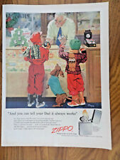 1955 ZIPPO Lighters Ad Christmas Shopping for Dad  Children Dachshund Dog
