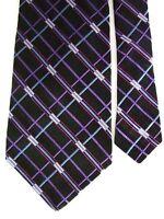 "Murano Men's Silk Geometric Neck Tie Black Purple 3 7/8"" x 59"""