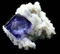 11.3g Rare Transparent Purple Cube Fluorite Mineral Crystal Specimen/China
