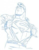 "8 1/2""x11"" Convention Blue Line Sketch by Superman Animator - Art Drawing"