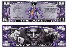 Joker Million Dollar Bill **Novelty Money** FREE Sleeve