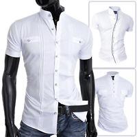 D&R Mens Short Sleeve Shirt White Grandad Collar Slim Fit Summer Holiday Wedding