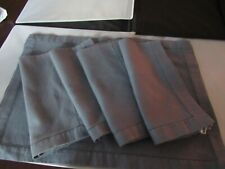Very Nice Set of 4 Large Hemstitch Blue Placemats and Napkins