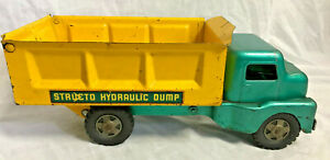 Collectible VTG Pressed Steel Structo Hydraulic Dump Truck Green Yellow Toy