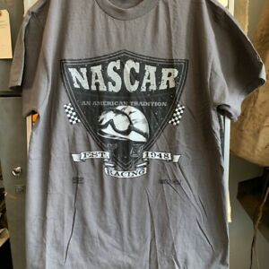 Late 90s early 2K Deadstock NASCAR American Tradition Est 1945 T-shirt Gray Lg.