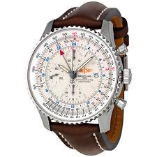 Breitling Navitimer World Steel Brown Strap Watch A2432212-G571BRLT