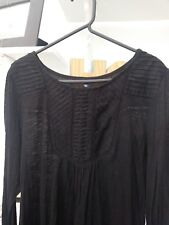 Ladies BNWOT Next Very Trendy Black Long sleeved  Detailed Top Size 12 Petite