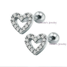 18g Surgical Steel Bar Heart CZ Tragus Ear Piercing Stud Barbell Earring CE108