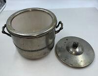 Vintage Keystoneware Silverplate on Copper Ice Bucket w/ Ceramic Insert, Deco