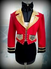 Deluxe Ringmaster Lady Costume Mock Shirt with Jacket Red COST-W NEW Skirt.