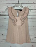 Deletta Anthropologie Women's XS Extra Small Blush Pink Cute Top Blouse Shirt