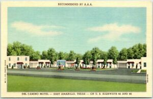 East Amarillo, Texas ROUTE 66 Postcard DEL CAMINO MOTEL Roadside Linen c1940s