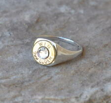 Winchester 9mm Bullet  Signet Ring Ladies Sterling Silver 925  Swarovski Crystal